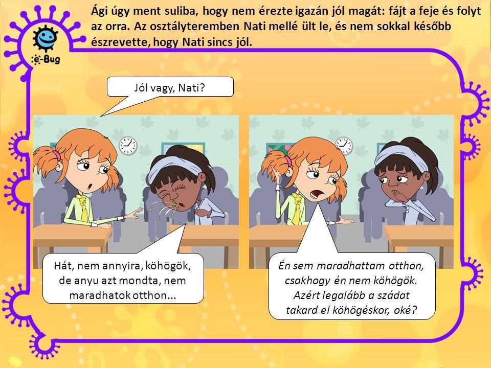 Ági úgy ment suliba, hogy nem érezte igazán jól magát: fájt a feje és folyt az orra. Az osztályteremben Nati mellé ült le, és nem sokkal később észrevette, hogy Nati sincs jól.