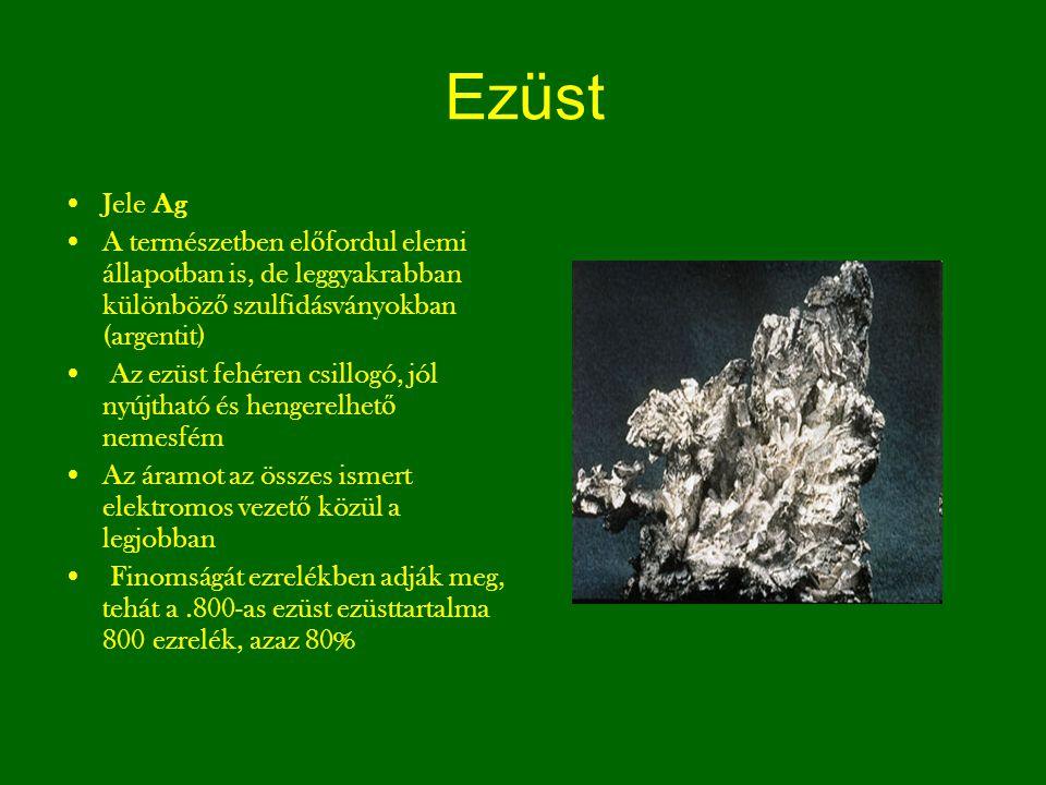 Ezüst Jele Ag. A természetben előfordul elemi állapotban is, de leggyakrabban különböző szulfidásványokban (argentit)