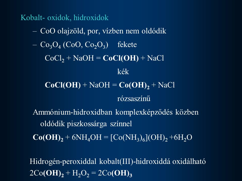 Kobalt- oxidok, hidroxidok