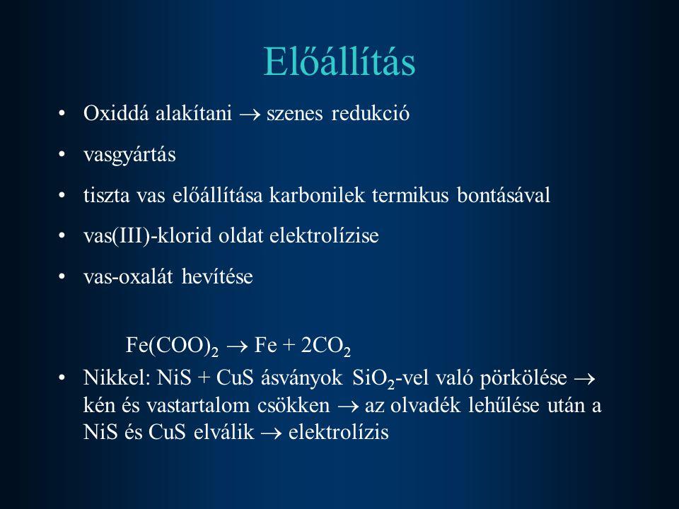 Előállítás Oxiddá alakítani  szenes redukció vasgyártás