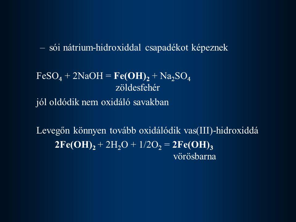 sói nátrium-hidroxiddal csapadékot képeznek