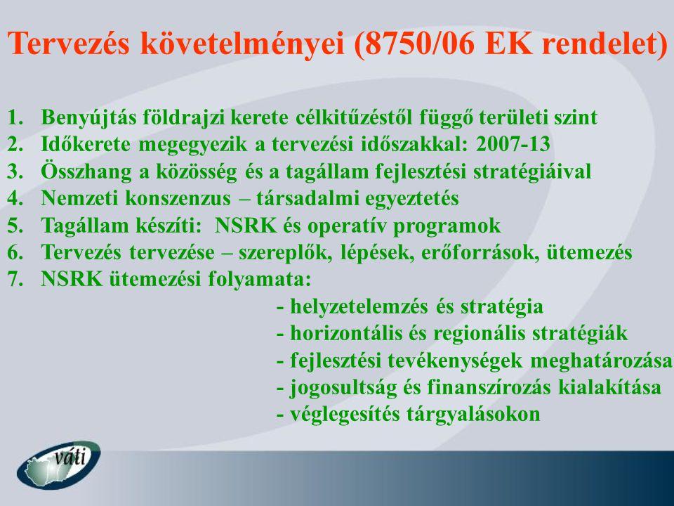 Tervezés követelményei (8750/06 EK rendelet)