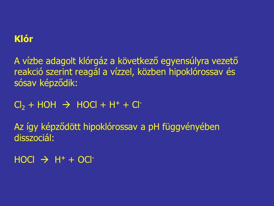 Klór A vízbe adagolt klórgáz a következő egyensúlyra vezető. reakció szerint reagál a vízzel, közben hipoklórossav és.