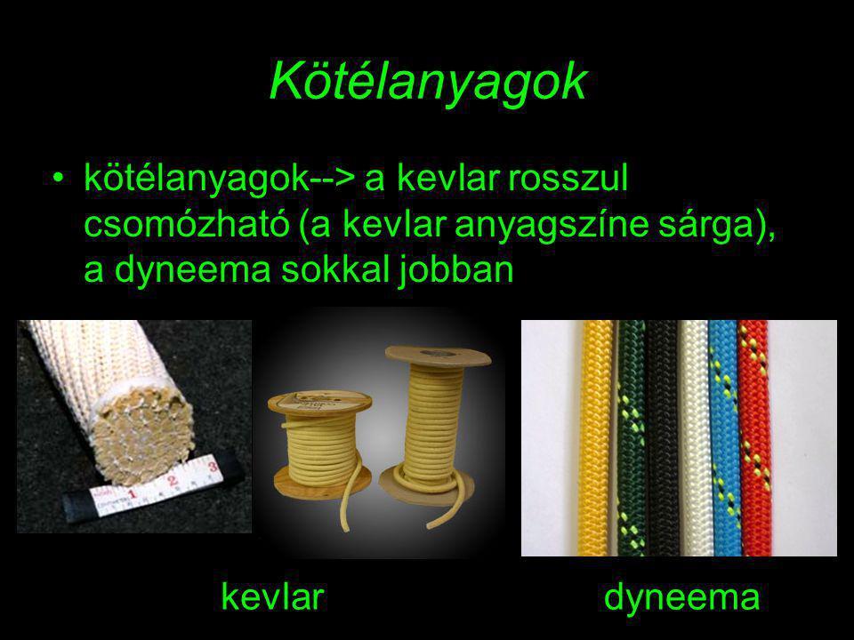 Kötélanyagok kötélanyagok--> a kevlar rosszul csomózható (a kevlar anyagszíne sárga), a dyneema sokkal jobban.