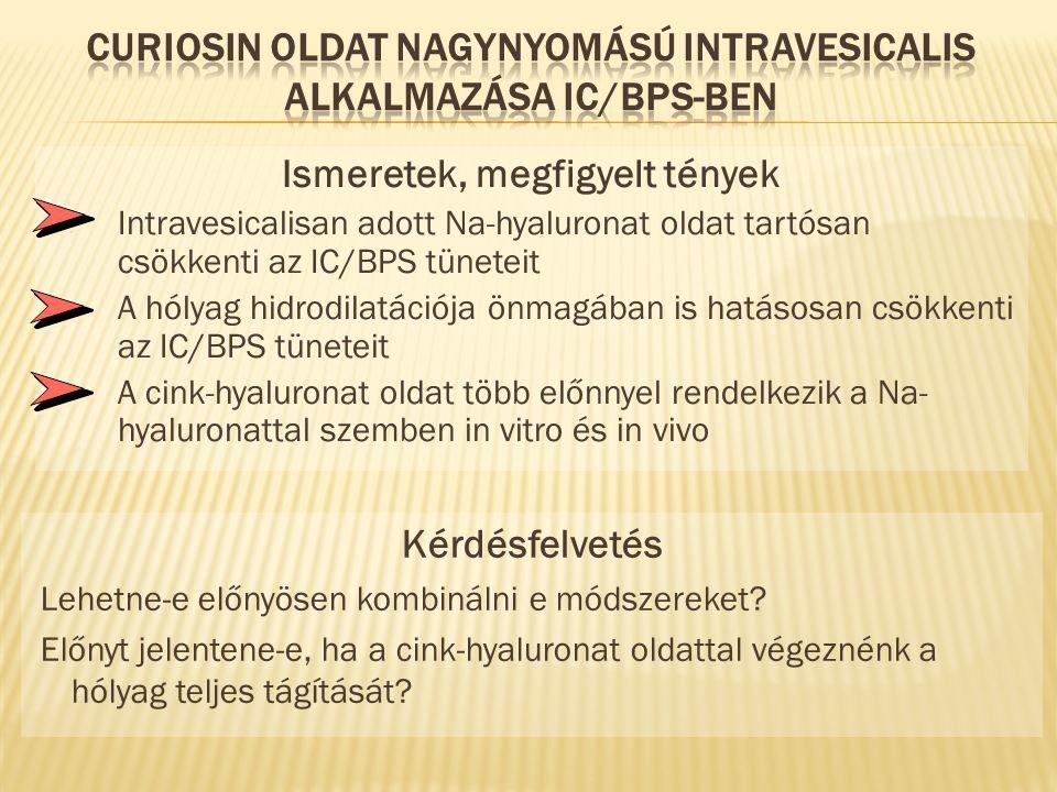 Curiosin oldat nagynyomású intravesicalis alkalmazása IC/BPS-ben