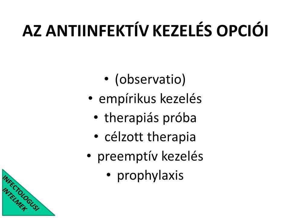 AZ ANTIINFEKTÍV KEZELÉS OPCIÓI INFECTOLOGUSI INTELMEK