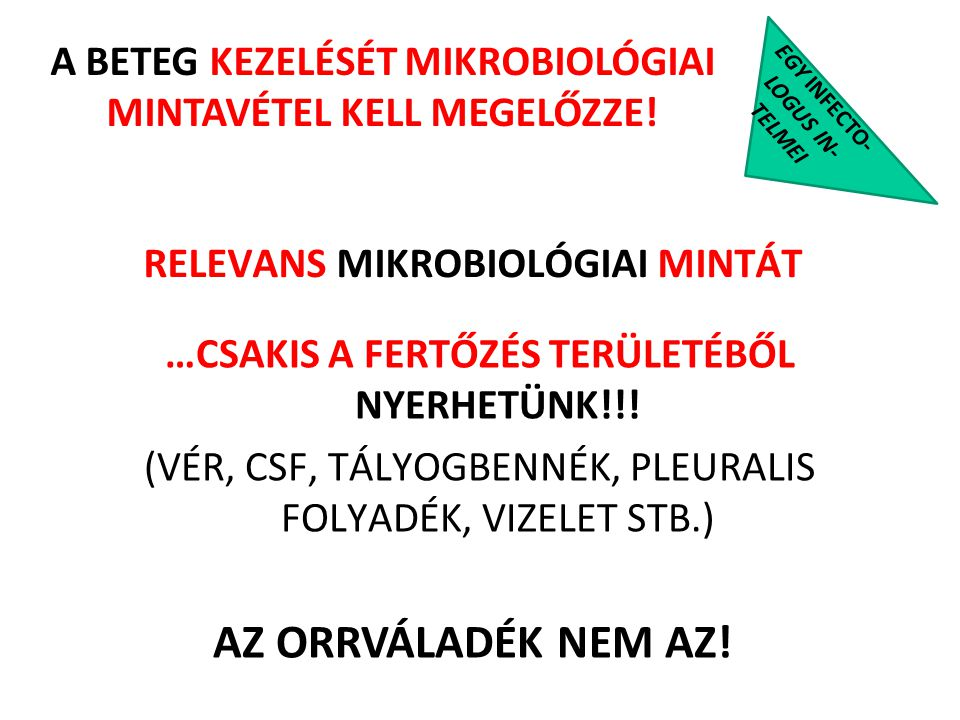 RELEVANS MIKROBIOLÓGIAI MINTÁT
