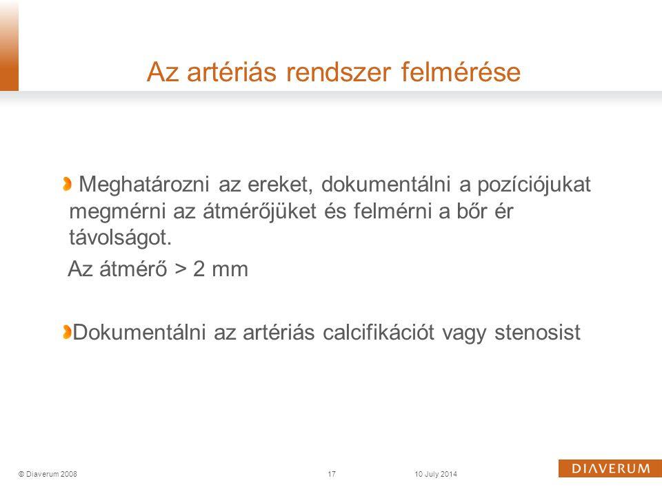 Az artériás rendszer felmérése