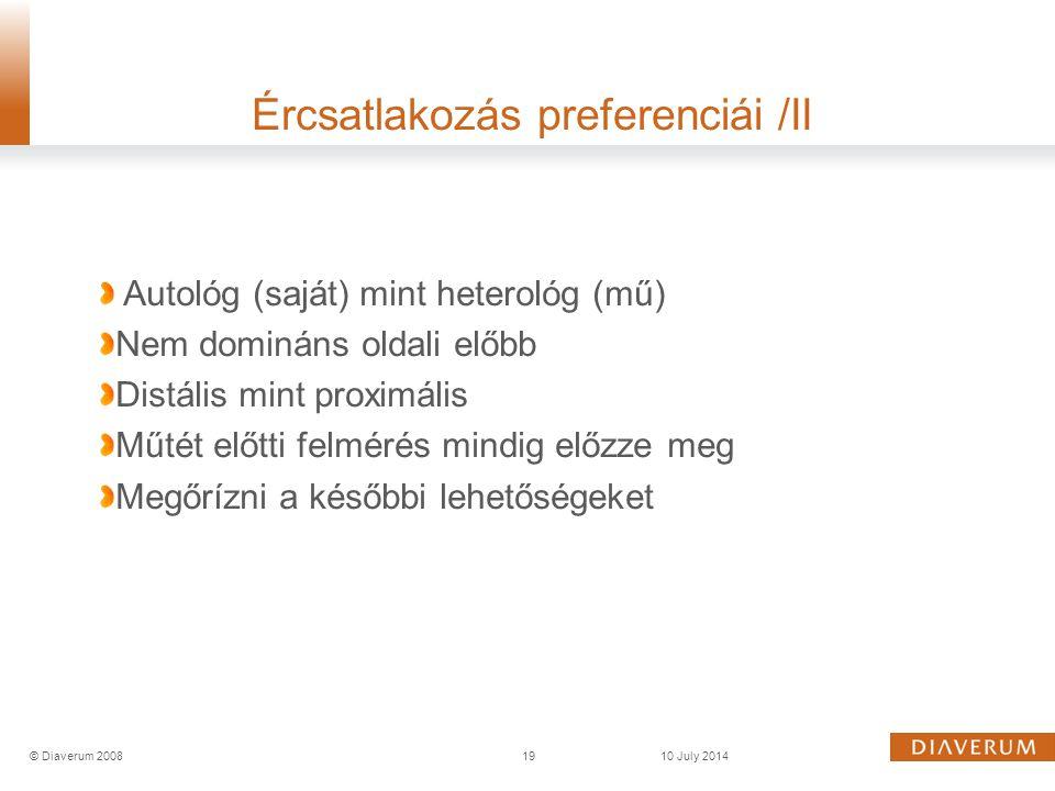 Ércsatlakozás preferenciái /II