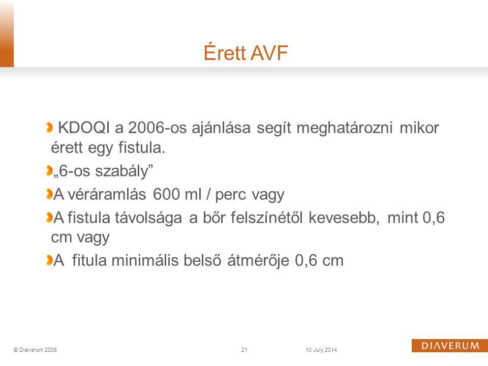 """Érett AVF KDOQI a 2006-os ajánlása segít meghatározni mikor érett egy fistula. """"6-os szabály A véráramlás 600 ml / perc vagy."""