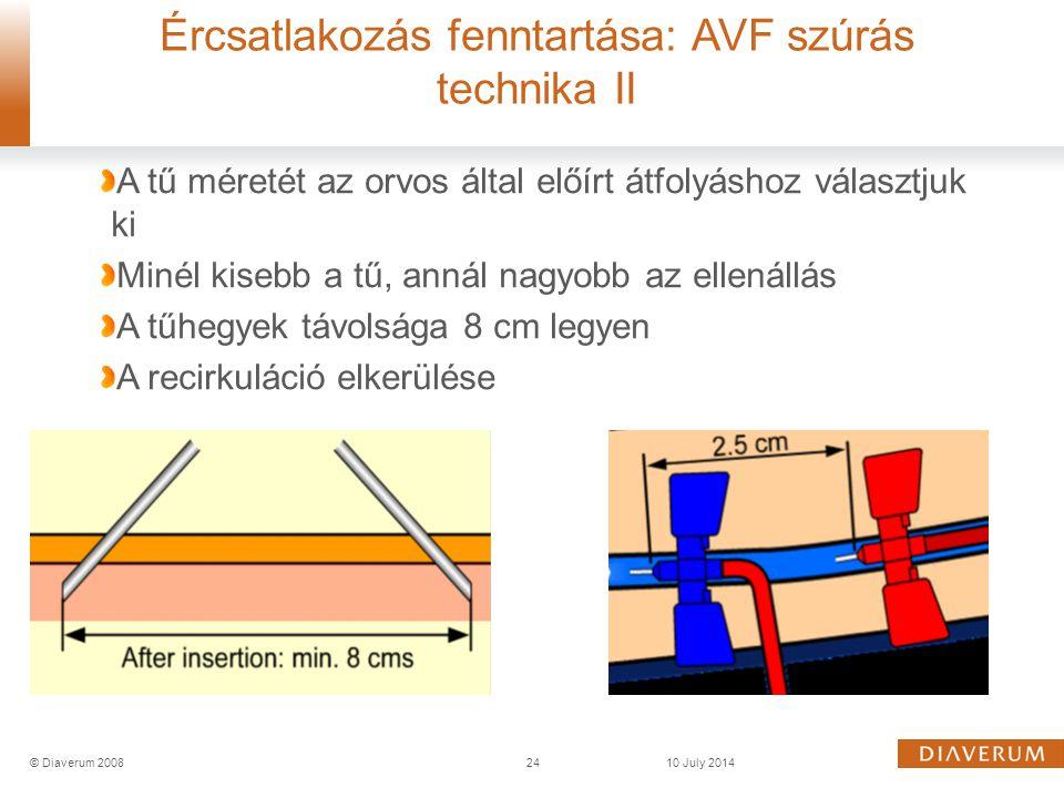 Ércsatlakozás fenntartása: AVF szúrás technika II