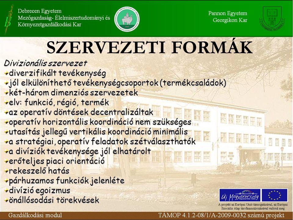 SZERVEZETI FORMÁK Divizionális szervezet diverzifikált tevékenység