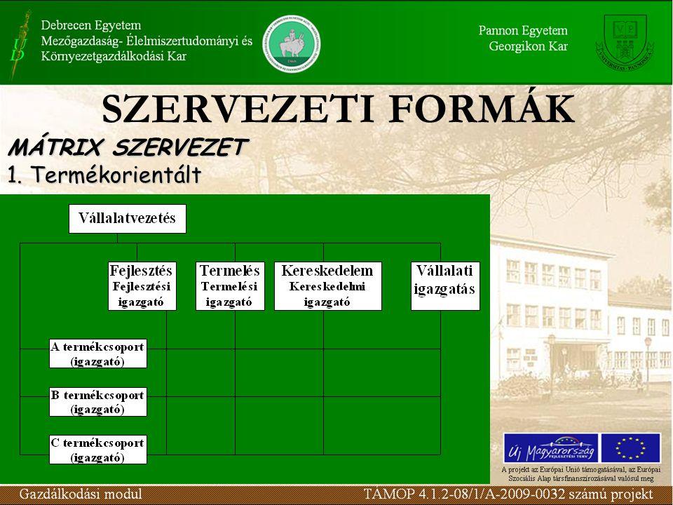 SZERVEZETI FORMÁK MÁTRIX SZERVEZET 1. Termékorientált