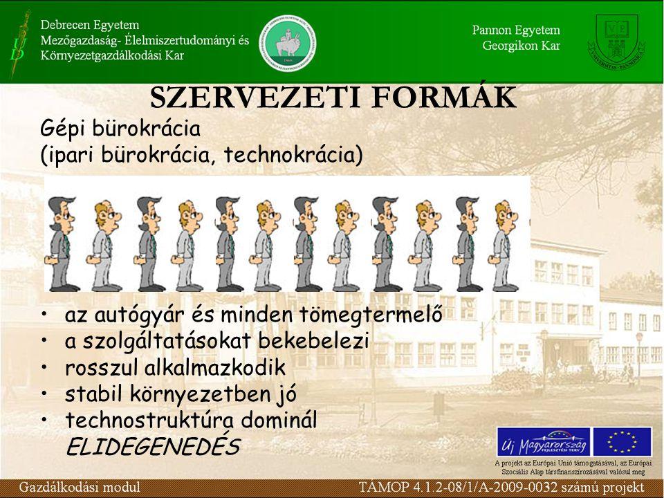 SZERVEZETI FORMÁK Gépi bürokrácia (ipari bürokrácia, technokrácia)