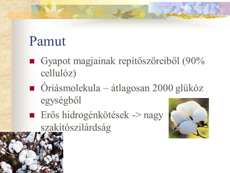 Pamut Gyapot magjainak repítőszőreiből (90% cellulóz)