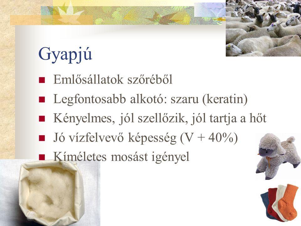 Gyapjú Emlősállatok szőréből Legfontosabb alkotó: szaru (keratin)