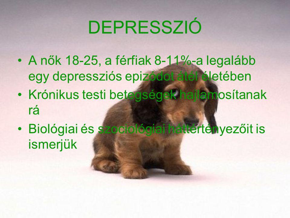 DEPRESSZIÓ A nők 18-25, a férfiak 8-11%-a legalább egy depressziós epizódot átél életében. Krónikus testi betegségek hajlamosítanak rá.