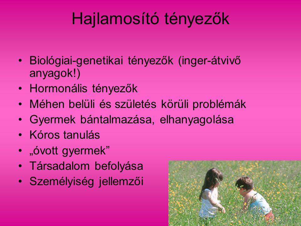 Hajlamosító tényezők Biológiai-genetikai tényezők (inger-átvivő anyagok!) Hormonális tényezők. Méhen belüli és születés körüli problémák.