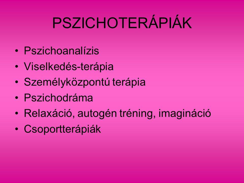 PSZICHOTERÁPIÁK Pszichoanalízis Viselkedés-terápia