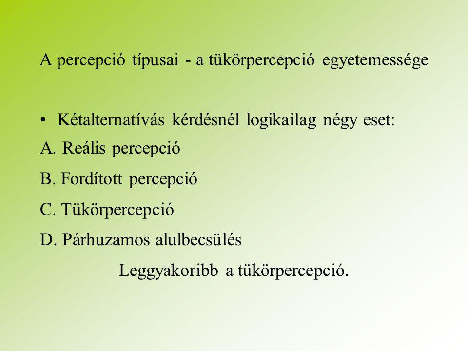 A percepció típusai - a tükörpercepció egyetemessége