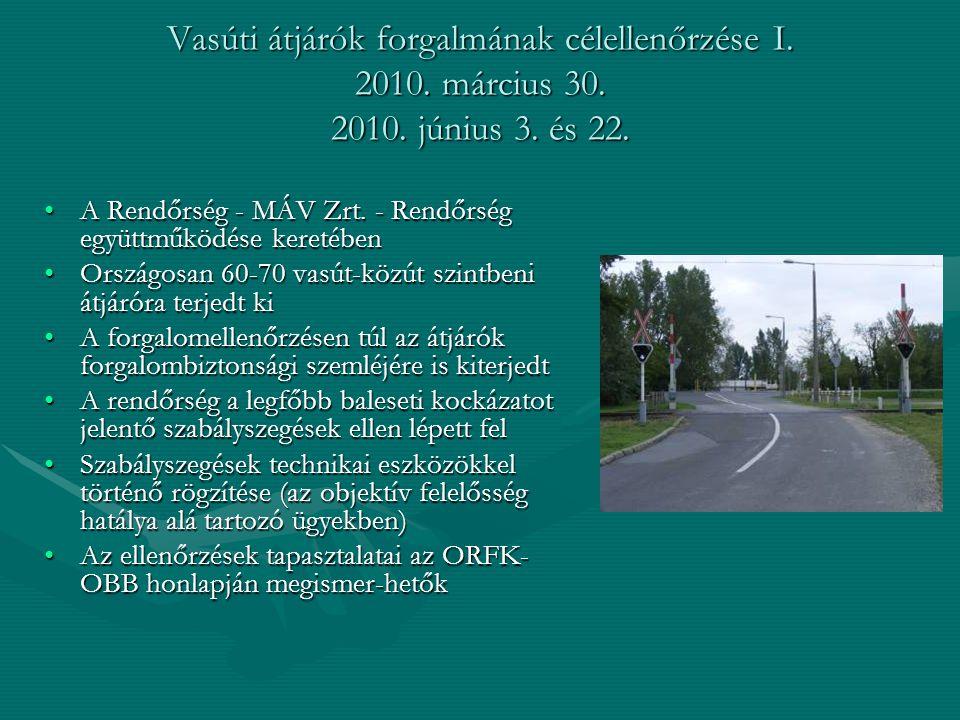 Vasúti átjárók forgalmának célellenőrzése I. 2010. március 30. 2010