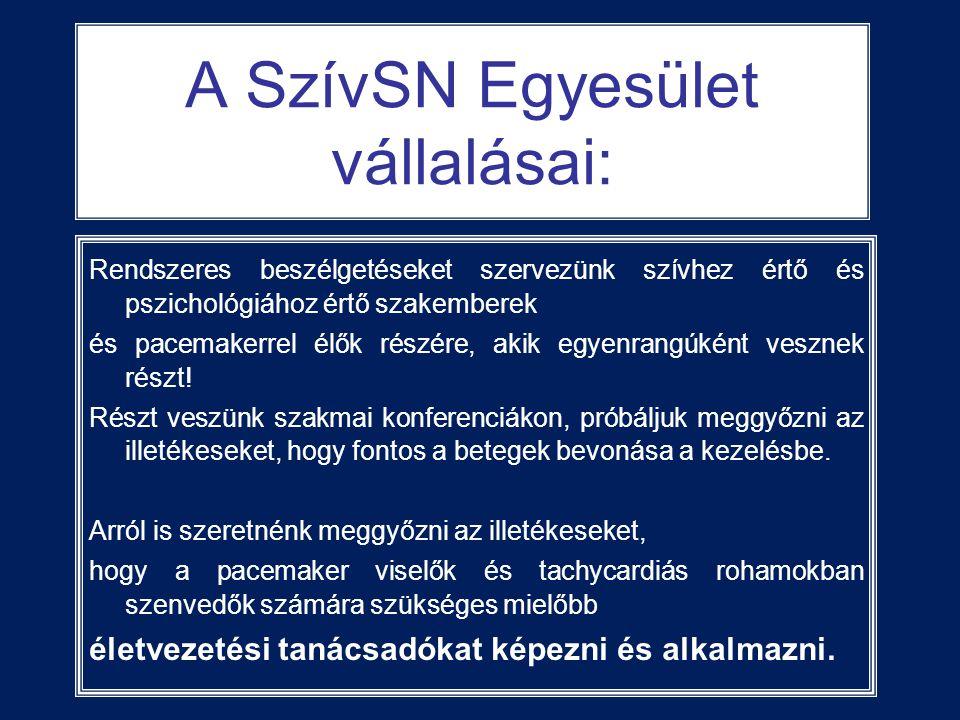 A SzívSN Egyesület vállalásai: