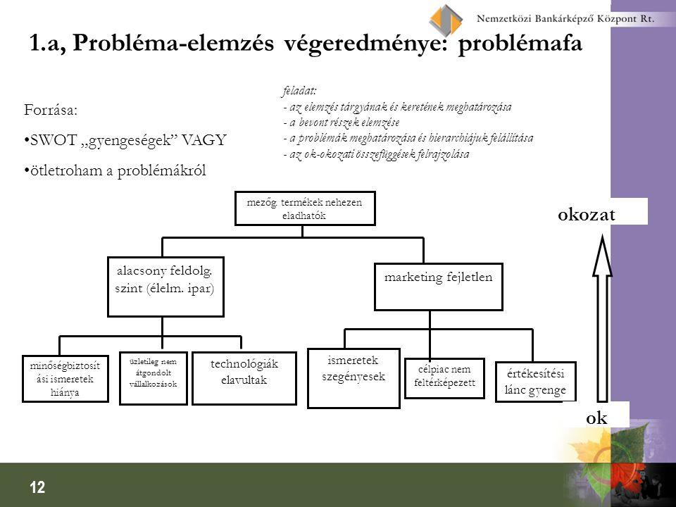 1.a, Probléma-elemzés végeredménye: problémafa