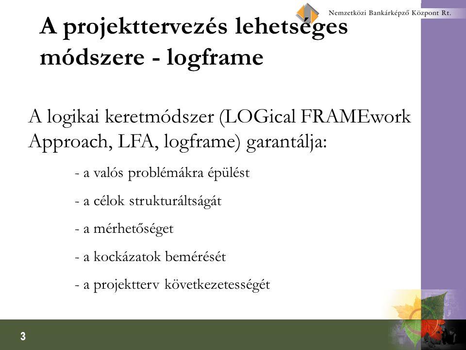 A projekttervezés lehetséges módszere - logframe