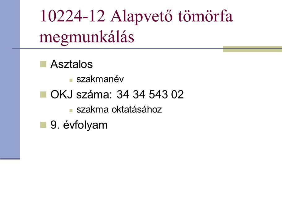 10224-12 Alapvető tömörfa megmunkálás