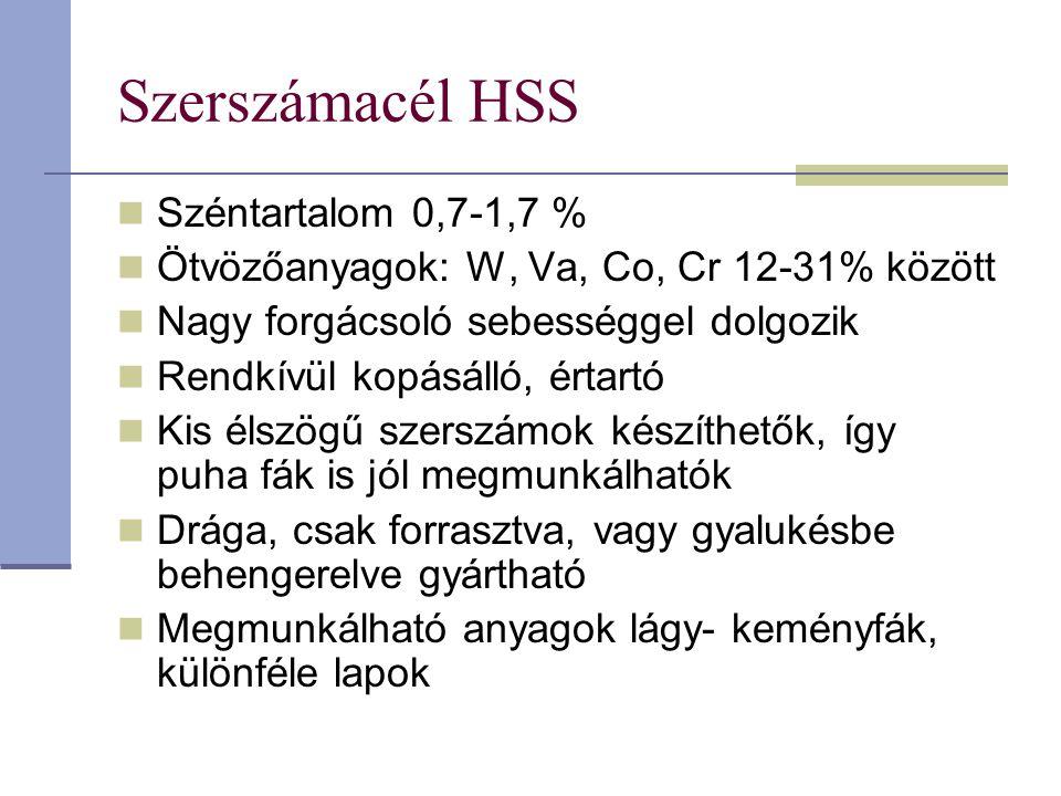 Szerszámacél HSS Széntartalom 0,7-1,7 %
