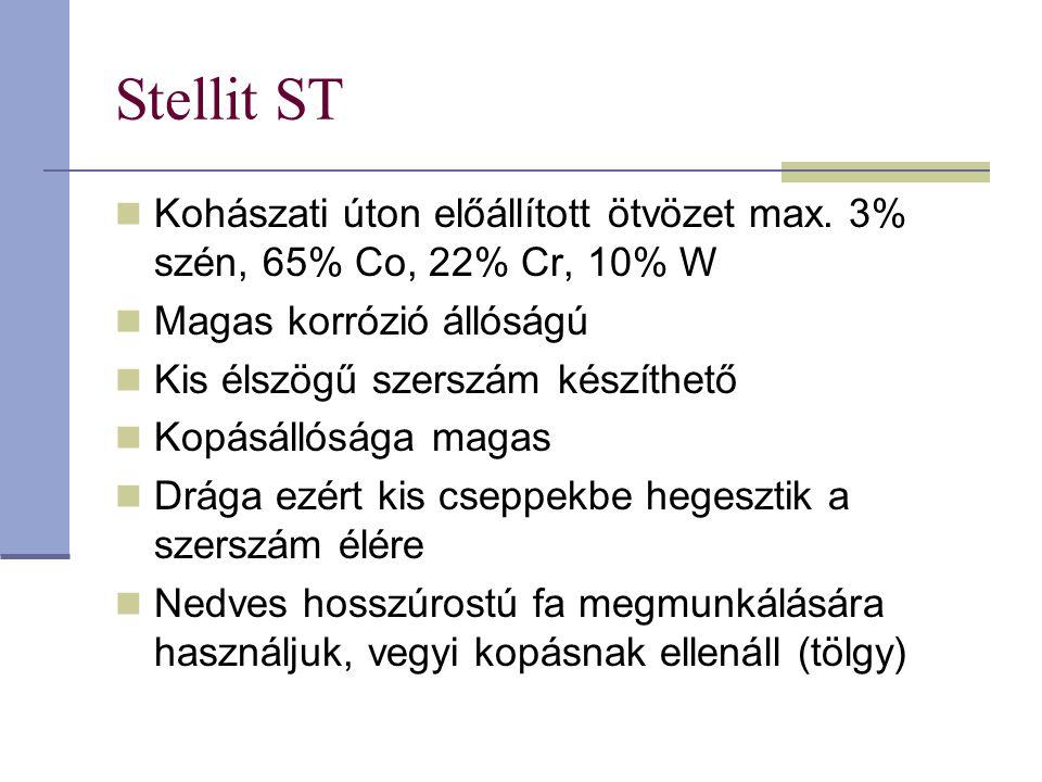 Stellit ST Kohászati úton előállított ötvözet max. 3% szén, 65% Co, 22% Cr, 10% W. Magas korrózió állóságú.