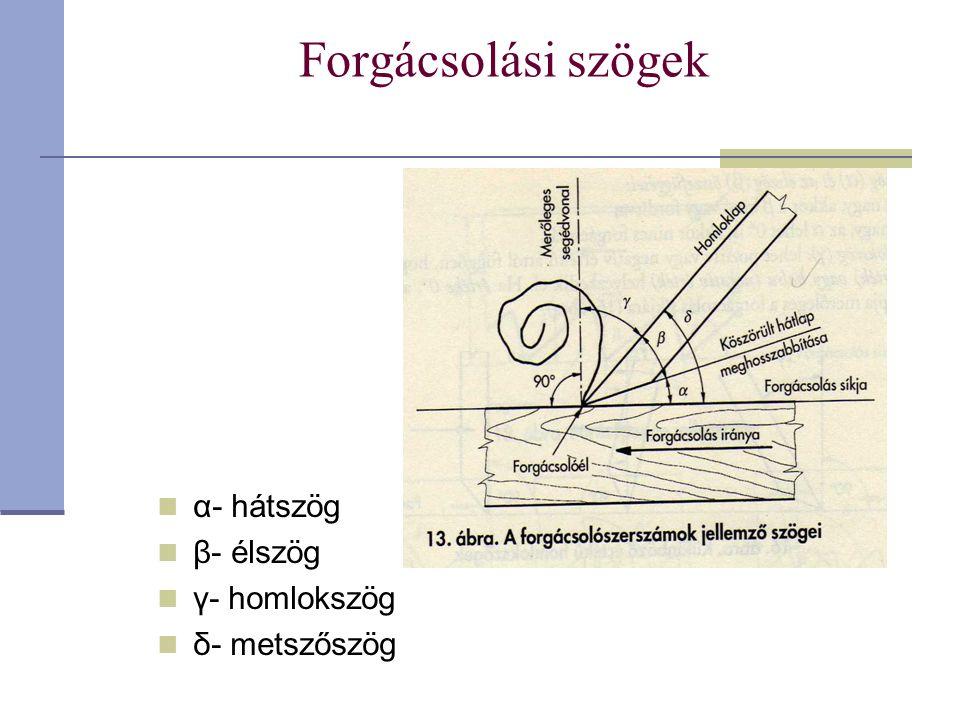 Forgácsolási szögek α- hátszög β- élszög γ- homlokszög δ- metszőszög