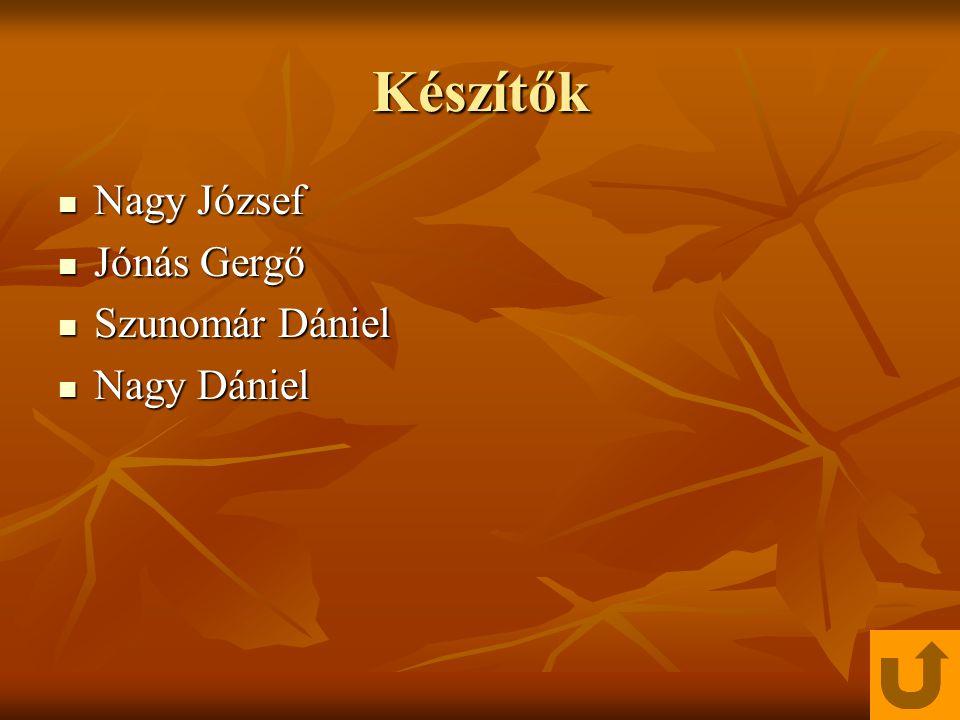 Készítők Nagy József Jónás Gergő Szunomár Dániel Nagy Dániel