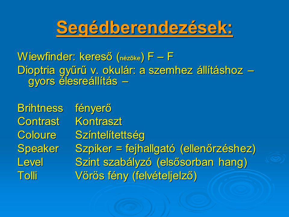 Segédberendezések: Wiewfinder: kereső (nézőke) F – F