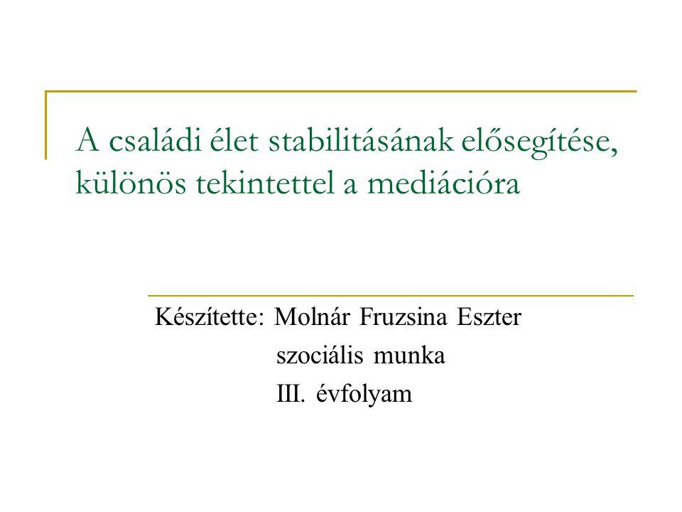 Készítette: Molnár Fruzsina Eszter szociális munka III. évfolyam