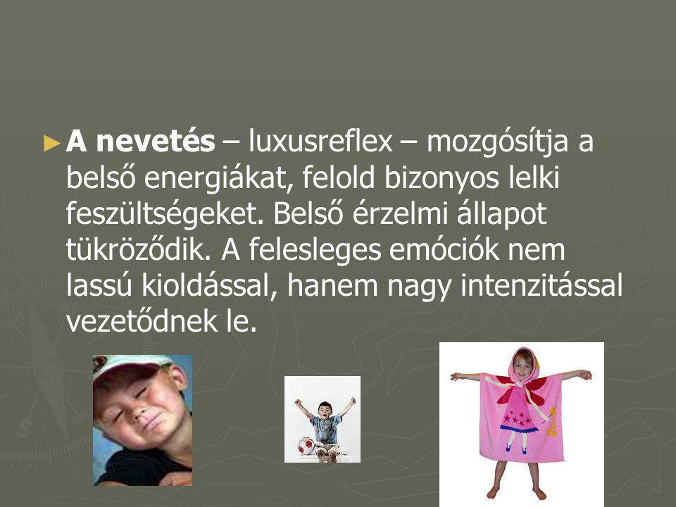 A nevetés – luxusreflex – mozgósítja a belső energiákat, felold bizonyos lelki feszültségeket.