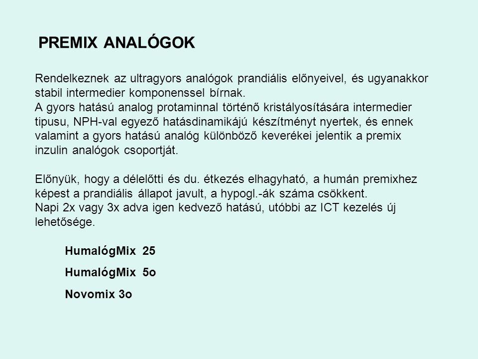 PREMIX ANALÓGOK Rendelkeznek az ultragyors analógok prandiális előnyeivel, és ugyanakkor stabil intermedier komponenssel bírnak.