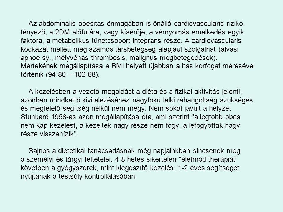Az abdominalis obesitas önmagában is önálló cardiovascularis rizikó-tényező, a 2DM előfutára, vagy kísérője, a vérnyomás emelkedés egyik faktora, a metabolikus tünetcsoport integrans része. A cardiovascularis kockázat mellett még számos társbetegség alapjául szolgálhat (alvási apnoe sy., mélyvénás thrombosis, malignus megbetegedések).