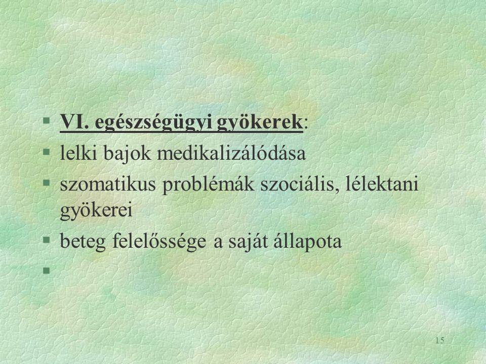 VI. egészségügyi gyökerek: