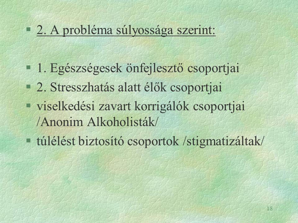 2. A probléma súlyossága szerint: