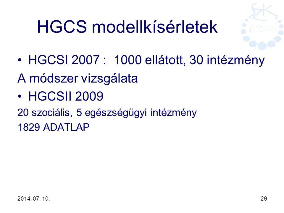 HGCS modellkísérletek