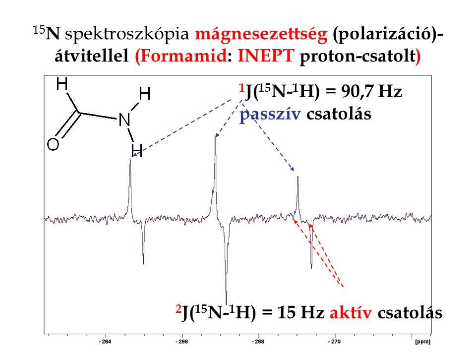 15N spektroszkópia mágnesezettség (polarizáció)-átvitellel (Formamid: INEPT proton-csatolt)