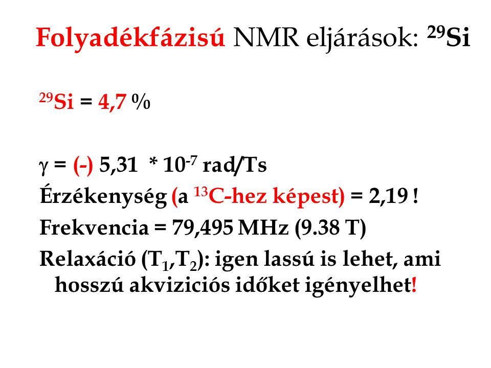Folyadékfázisú NMR eljárások: 29Si