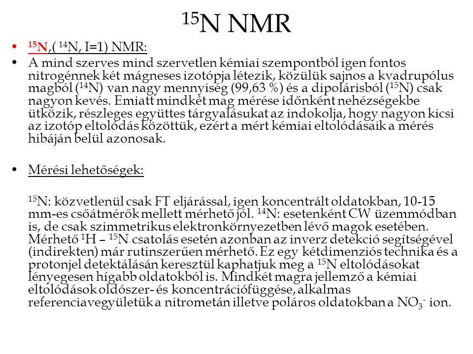 15N NMR 15N,( 14N, I=1) NMR: