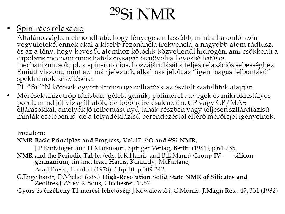 29Si NMR Spin-rács relaxáció