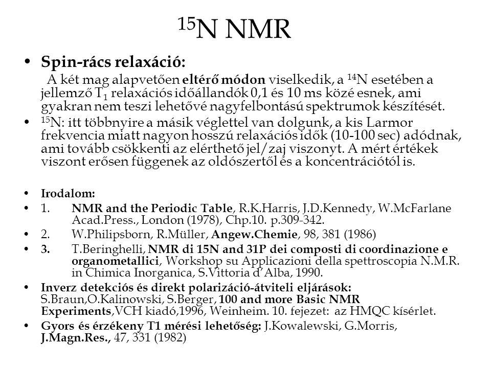 15N NMR Spin-rács relaxáció:
