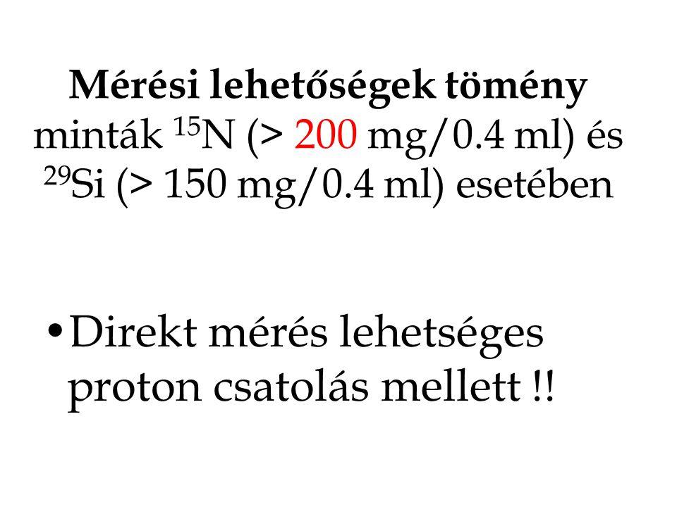 Direkt mérés lehetséges proton csatolás mellett !!