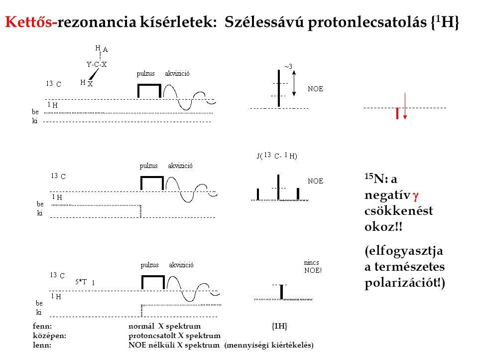 Kettős-rezonancia kísérletek: Szélessávú protonlecsatolás {1H}