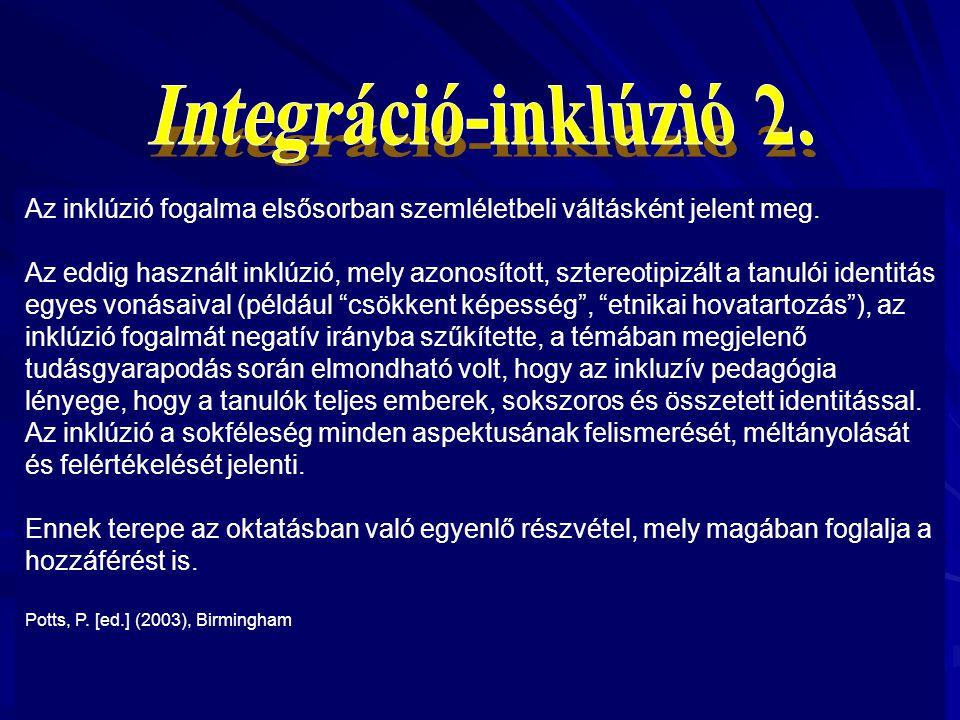 Integráció-inklúzió 2. Az inklúzió fogalma elsősorban szemléletbeli váltásként jelent meg.