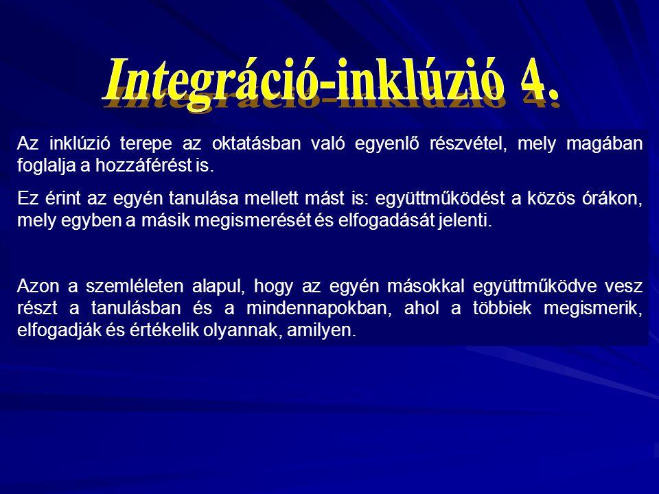 Integráció-inklúzió 4. Az inklúzió terepe az oktatásban való egyenlő részvétel, mely magában foglalja a hozzáférést is.